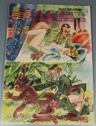 WW2 Japanese IJA Propaganda Leaflet Australian That Goes Double Native Woman 9