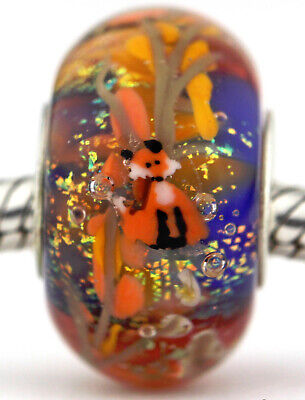 Fall Forest Fox sterling silver european charm bead lampwork murano glass