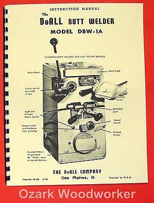 Doall Butt Welder Dbw-1a Instructions Part Manual 0268