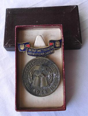 DDR Medaille 5.Berufswettbewerb der deutschen Jugend 1953 im Etui (122374)