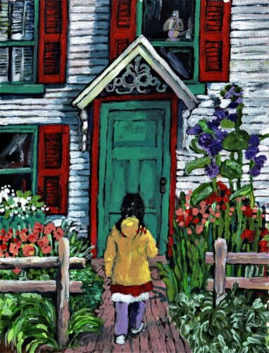 """PAINTING PRINT Young Girl,Cottage,Flowers,Garden,African American child """"Home"""""""