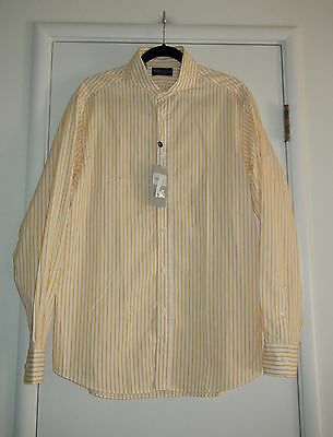 Ralph Lauren Purple Label Yellow White Striped Shirt $465 NWT 16.5 33 Made Italy