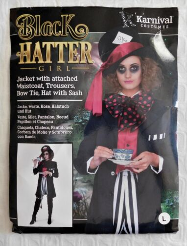 NEW Karnival Black Mad Hatter Halloween Costume Adult Size L ***FREE SHIPPING***