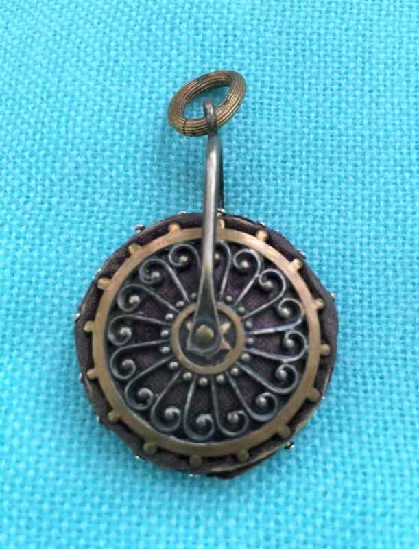Antique French Brass & Ironized Chatelaine Pin Cushion Wheel Shape