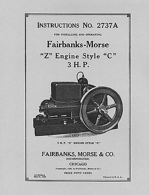 Fairbanks Morse 3 HP  Z  Style C  Instructions No 2737A