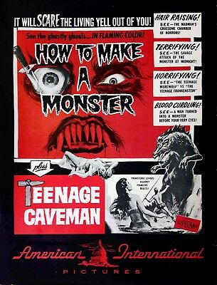 'HOW TO MAKE A MONSTER' & 'TEENAGE CAVEMAN' - PRESSBOOK WITH COLOR HERALD