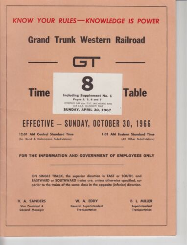 1966 Grand Trunk Western Railroad #8 includes Supplement #1
