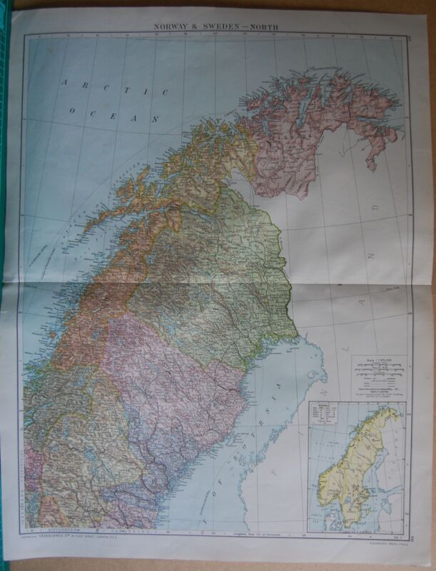 1919 LARGE MAP- EUROPE-NORWAY AND SWEDEN-NORTH