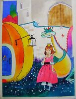 Childrens Illustrations Golden Hours Magazine Cover Girl & Dragon W/col 1970s - cover girl - ebay.co.uk