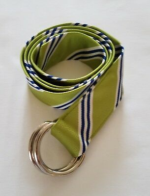 J CREW SNOW-WHITE BLUE LIME STRIPE SILVER D-RING 100% SILK BELT SIZE S / M