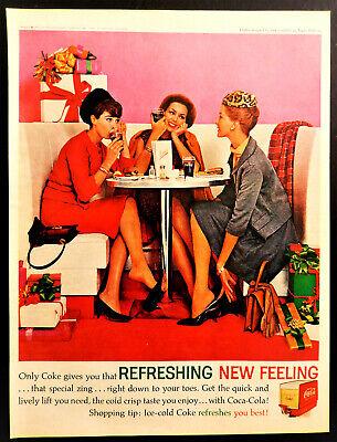 Vtg 1962 Coca Cola coke Christmas shopping ladies advertisement print ad