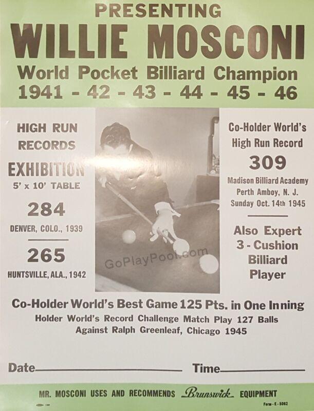 Willie Mosconi Classic Billiard Exhibition Poster