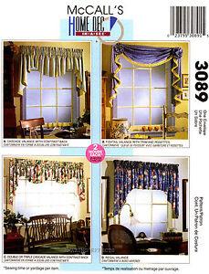 McCall's Pattern 3089 VALANCES rosette curtain - window treatment sewing cascade