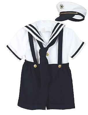 Suit Outfits (Baby Boy Toddler Formal Party Nautical Navy Sailor Suit Outfits SZ: S M L)