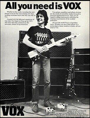 1983 Vox vintage guitar and amp ad 8 x 11 b/w advertisement print
