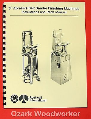 "DELTA/ROCKWELL/MILWAUKEE 6"" Belt Sanders Instructions & Parts Manual 0961"