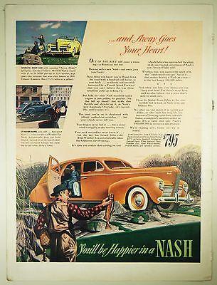 Vintage 1940 NASH Automobile Large Magazine Print Ad - FISHING