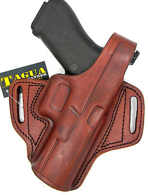 TAGUA BROWN RIGHT HAND LEATHER THUMB BREAK OWB BELT HOLSTER for GLOCK 17, 22, 31