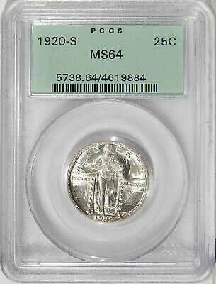 1920-S 25c PCGS MS 64 OGH ~ BETTER STANDING LIBERTY QUARTER IN OLD GREEN