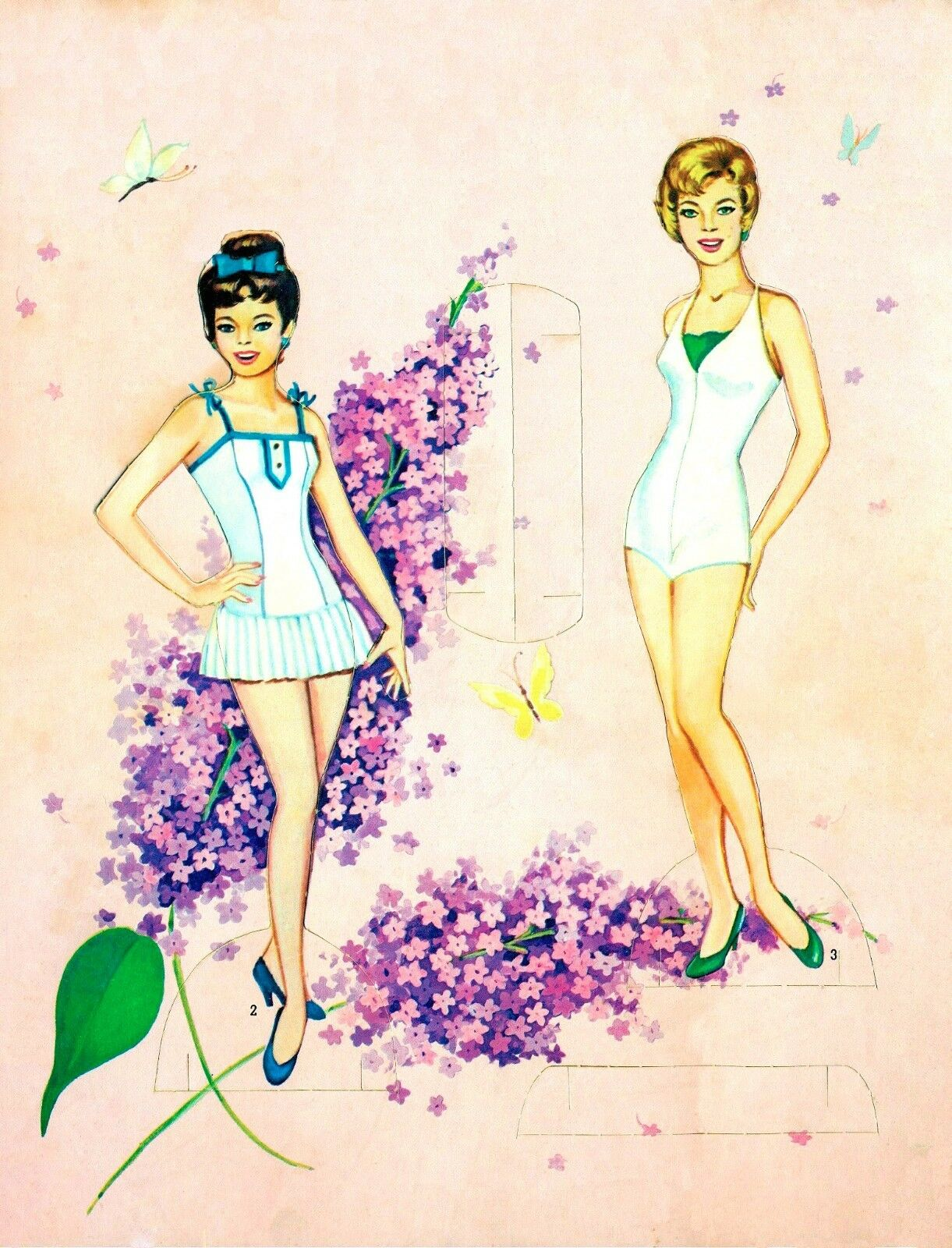 VINTAGE UNCUT 1960s LILAC TIME PAPER DOLL ~SAALFIELD~ORG SZ~LASER REPRO NO1 SELL