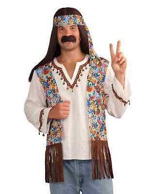 Hippie Kostüme Kit (Forum Novelties Mens Groovy Hippie Costume Shirt With Attached Vest Headband Kit)