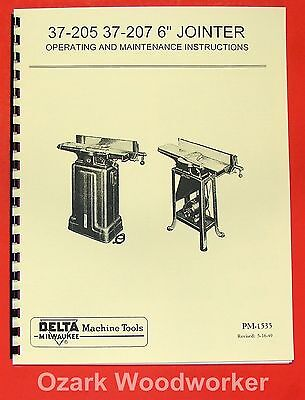 Delta-milwaukee 6 Short Bed Jointer 37-205 37-207 Owners Parts Manual 0209