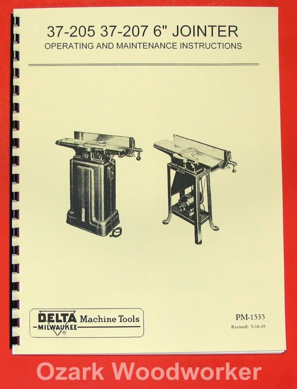 "DELTA-Milwaukee 6"" Short Bed Jointer 37-205, 37-207 Owner"