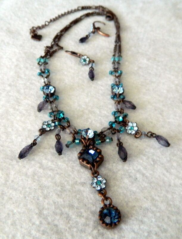 039#D-- Necklace Earring Set Copper Blue Glass Beads Signed Cookie Lee