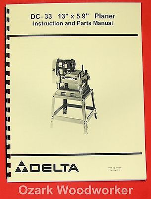 Delta-rockwell Dc-33 13x5.9 Wood Planer Operator Part Manual 0251