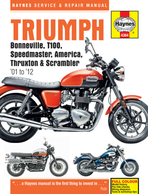 Triumph Bonneville T100 Speedmaster Thruxton 2001-15 Haynes Manual 4364 NEW