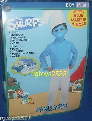 The Smurfs SMURF Costume New Size Med 7 8 M Medium Boys Blue Child - Kids Smurf Costume