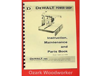 DEWALT Power Shop 1200 & 1400 Radial Arm Saw Instructions & Parts Manual 0262