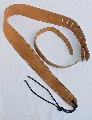 Guitar Strap TAN SUEDE LEATHER Fits Acoustic & Electrics Made USA Since 1978