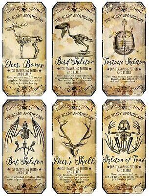 Halloween Elixir Labels (Halloween 6 bottle Labels Skeleton Bones Skull Elixir Scary Apothecary)
