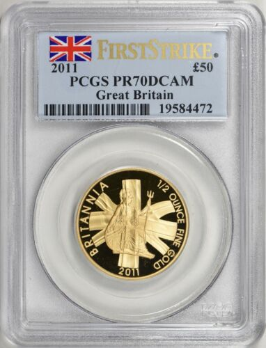 2011 Great Britain 1/2 oz Gold 50 Pounds First Strike PCGS Proof-70 DCAM