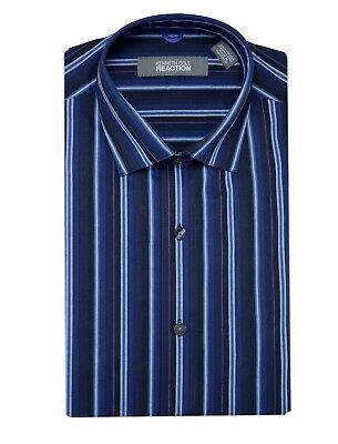 Kenneth Cole Slim Fit Evening Blue Striped Wrinkle Free Cotton Dress Shirt Blue Striped Cotton Dress Shirt