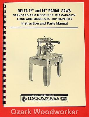 Delta-rockwell 12 14 Radial Arm Saw Instructions Parts Manual 0229