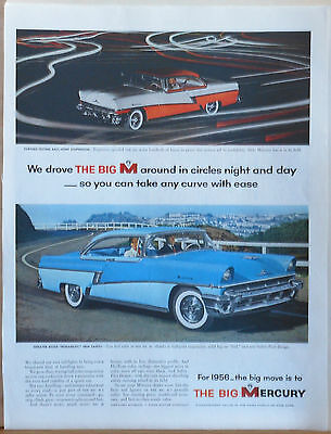 Vintage 1956 magazine ad for Mercury - Mercury driven in circles, color photo ad
