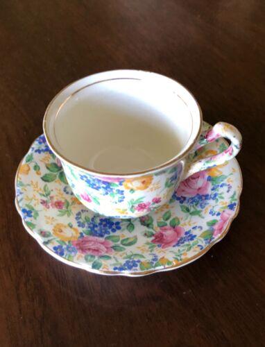 """James Kent England """"Rosalynde"""" English Rose Chintz Tea Cup & Saucer"""