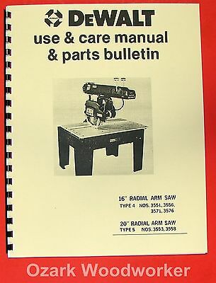 Dewalt 16 20 Radial Arm Saw Instructions Parts Manual 0962