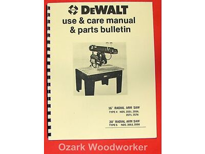 "DEWALT 16""  20"" Radial Arm Saw Instructions & Parts Manual 0962"