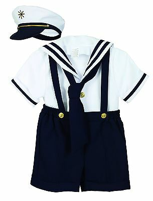 Sailor Short Set Boys Navy White Nautical Outfit Set Infant 3-12M Toddlers 2T-4T Boys Navy Short Set
