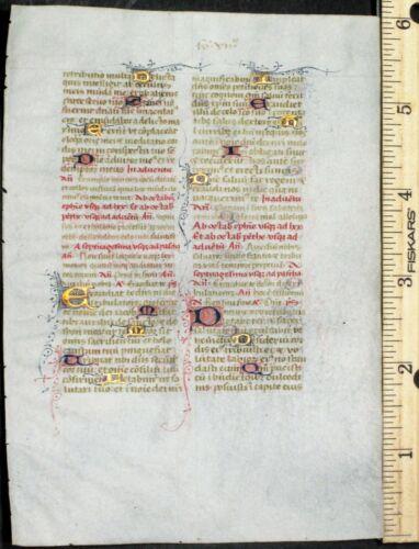 Illuminated medieval BoH leaf,vellum,15 deco.gold heightened initials etc,c.1420