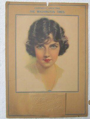 Antique 1925 Calendar Blue Eyed Black Hair Flapper