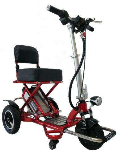 Red Triaxe Sport Folding Scooter, 350 Lb Cap, 12 Mph, 35 Miles Per Charge, Lite