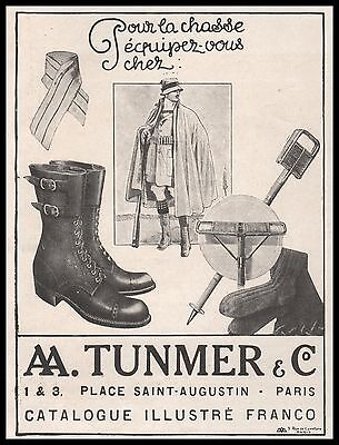 Publicité  TUNMER & Co Chasseur Chasse Hunter Hunting vintage print ad 1914