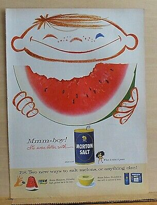 1952 magazine ad for Morton Salt - Mmmm-boy! watermelon even better with