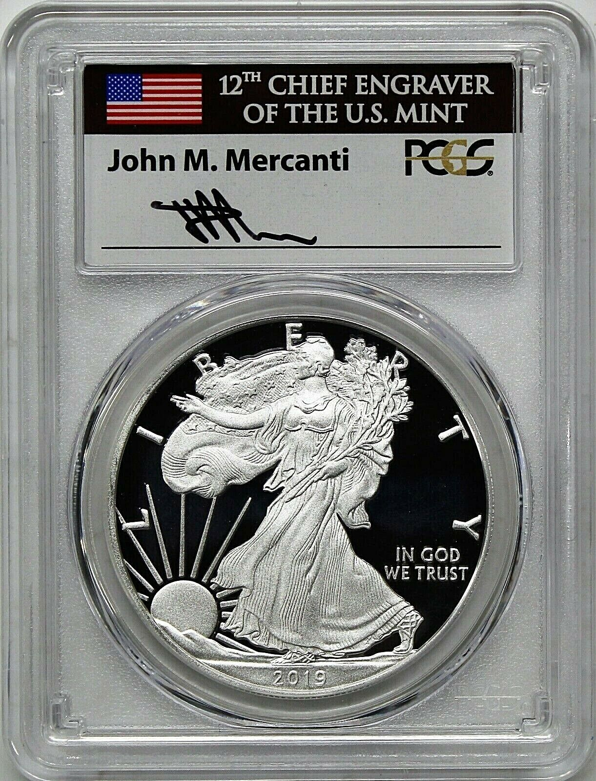 First Day Issue Eagle Frame 2019 S 1oz Silver Eagle Proof PCGS PR70