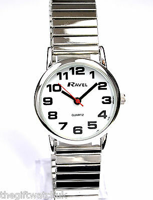 Ravel Neue Damen Groß Nummer Silberfarben Expander Uhr