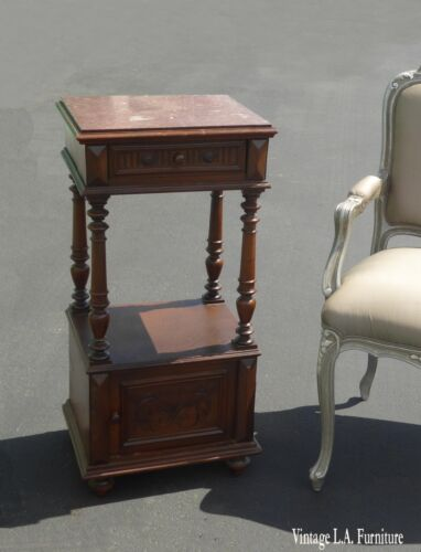Antique Federal Style Marble Top Nightstand Side Table w Storage As-Is